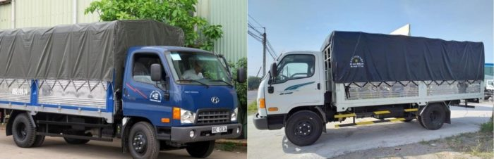 xe tải thùng 7 tấn hd700 và hyundai 110s